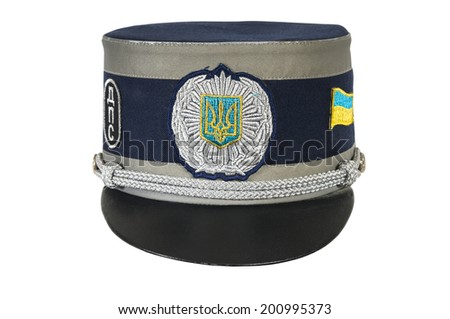 police hat, against a white background of the Ukrainian police officer - stock photo