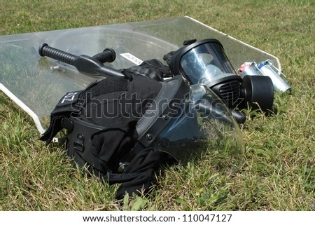 police helmet for anti-riot - stock photo