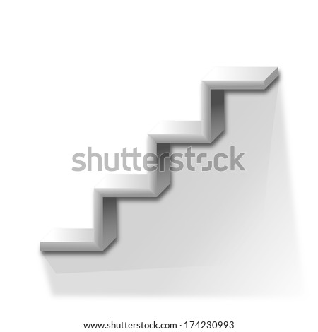 Police in the shape of stairs on a white background - illustration - stock photo