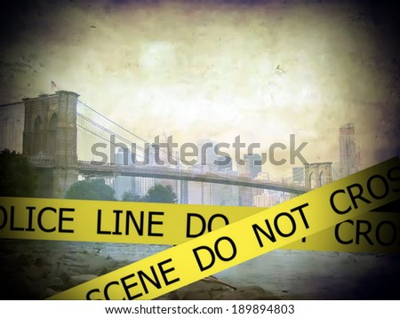 Police line do not cross sign tape on grunge Scenic view of Brooklyn bridge over East river and Manhattan background - stock photo