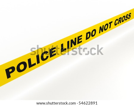 Police line do not cross. Yellow tape isolated on white background. High quality 3d render. - stock photo