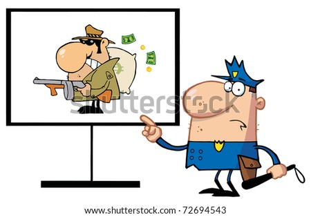 Police Man Pointing To A Robber Sign - stock photo