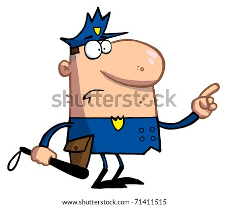 Police Officer Gestures With Finger - stock photo