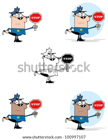 Police Officer Holding A Stop Sign And Club. Raster Illustration.Vector version also available in portfolio. - stock photo