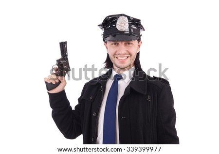 Police officer isolated on white - stock photo