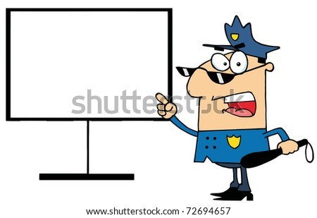 Police Officer Shouting And Pointing To A Blank Sign - stock photo