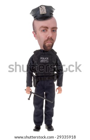 Police officer  with bat isolated over white - stock photo