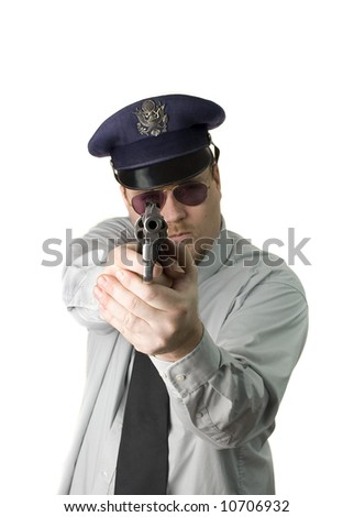 Police Officer with dark glasses and revolver - stock photo