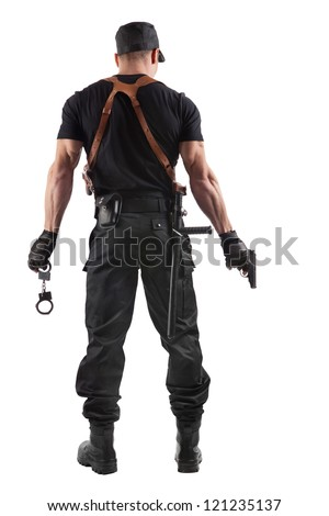 Police officer with handcuffs and gun. Isolated on white. - stock photo