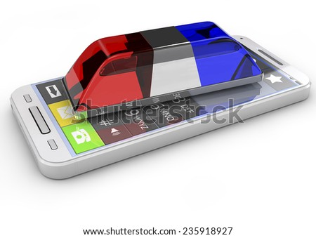 police or ambulance flasher and smarthphone isolated on white background. 3d render, metaphor emergency call - stock photo