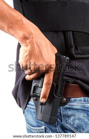 Police prepare for gun - stock photo
