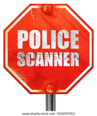 police scanner, 3D rendering, a red stop sign - stock photo