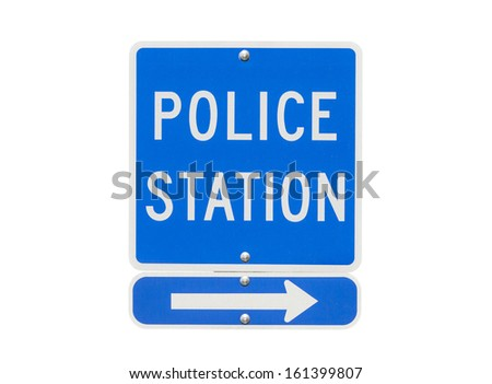 Police Station Sign Isolated on White - stock photo