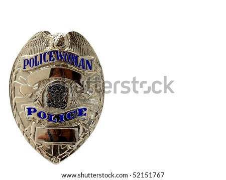 police WOMAN badge/shield - stock photo
