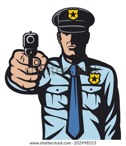 policeman pointing a gun (policeman shoots, police officer is making stop sign with hand, hand with gun, gun pointed, policeman aiming gun at you, police officer pointing his gun) - stock photo
