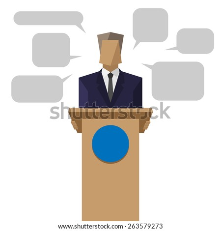 policies behind the podium - stock photo