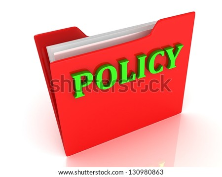 POLICY bright green letters on a red folder on white background - stock photo
