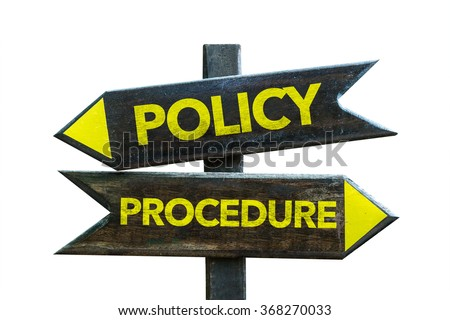 Policy - Procedure signpost isolated on white background - stock photo