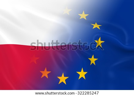 Polish and European Relations Concept Image - Flags of Poland and the European Union Fading Together - stock photo