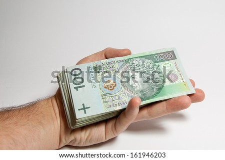 Polish banknotes held in the hand - stock photo