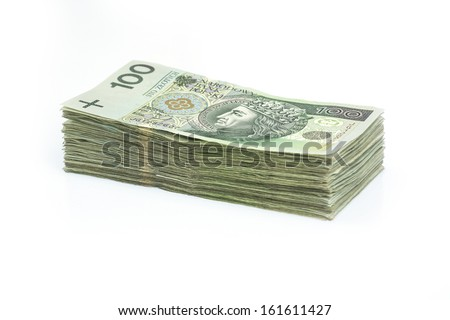 Polish banknotes stack - stock photo