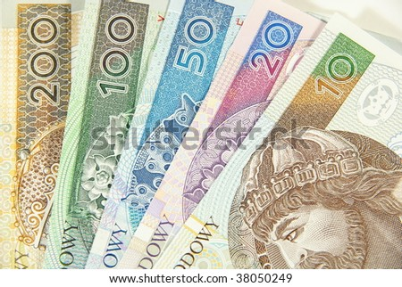 Polish cash between ten to two hundred - stock photo