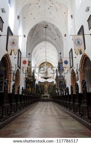 Polish cathedral beautiful interior - stock photo