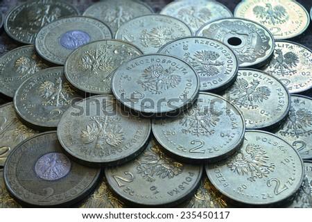 Polish coins. - stock photo