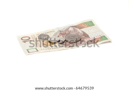 Polish coins and banknote isolated on white background - stock photo