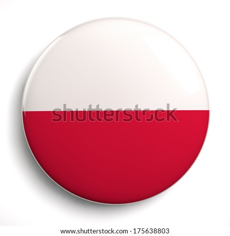 Polish flag icon isolated. Clipping path included. - stock photo