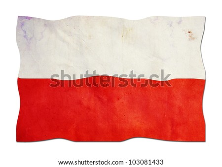 Polish Flag made of Paper - stock photo