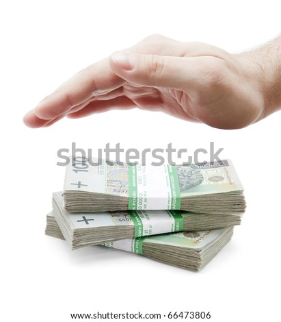 Polish money and hand on white - stock photo
