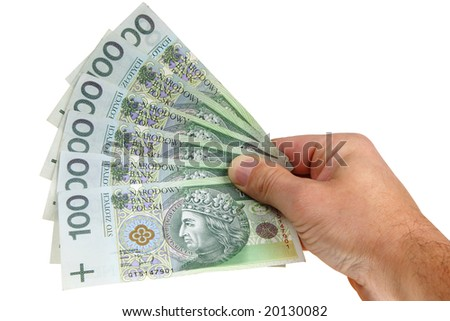 Polish money isolated on white background (with clipping path) - stock photo