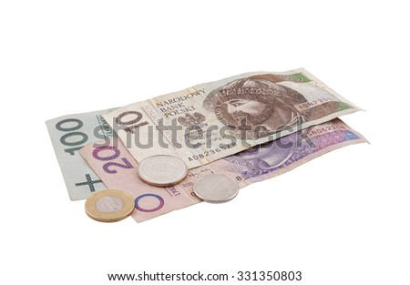 Polish money isolated on white with clipping path - stock photo