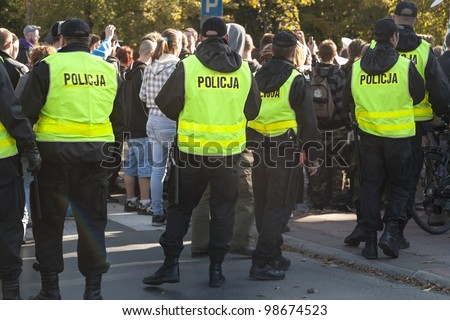 Polish police in action - stock photo