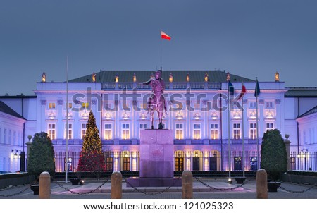 Polish President Palace in Warsaw, Poland. In front of the palace: Bertel Thorvaldsen's equestrian statue of Prince Jozef Poniatowski. - stock photo