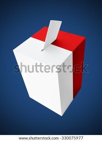 Polish red and white ballot box with voting card on dark blue background - stock photo