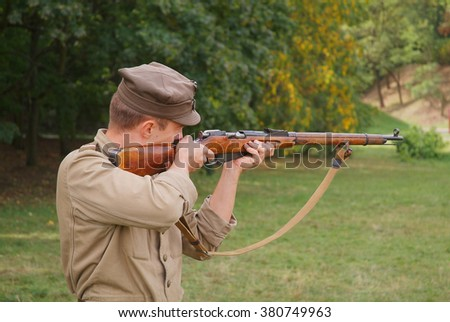 Polish soldier with Mosin rifle - stock photo