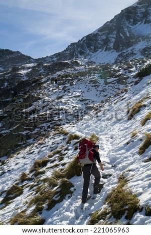 Polish Tatra mountains - climbing - stock photo