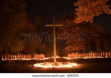 Polish war cementary in All Saints Day - stock photo