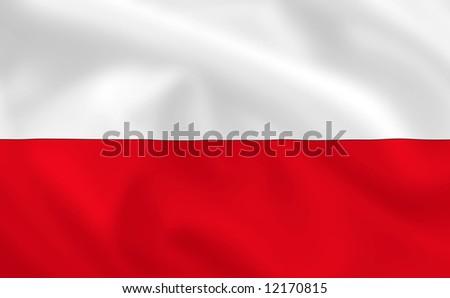 Polish waving flag - stock photo