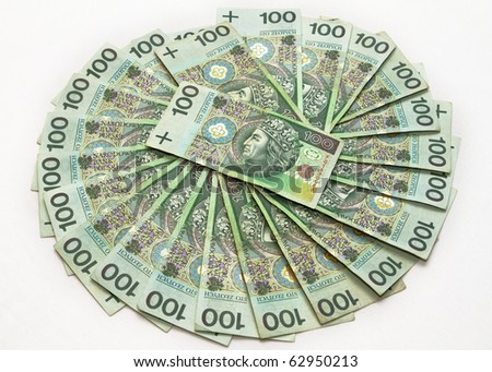 Polish zloty banknotes of 100's composition - stock photo