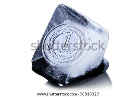 Polish zloty coin frozen into the ice cube - stock photo