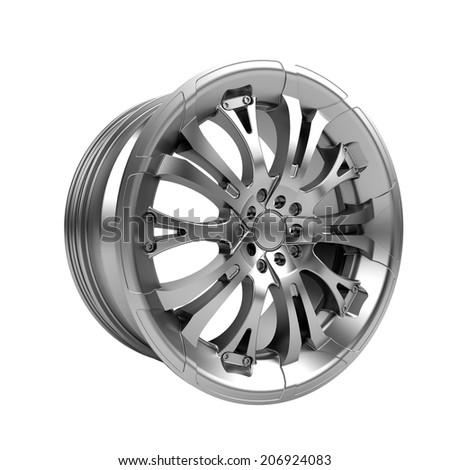 Polished chrome car rim wheel on white - stock photo