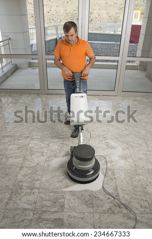 Polishing the Floor - stock photo