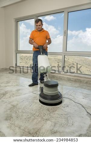 Polishing the Floor - stock photo