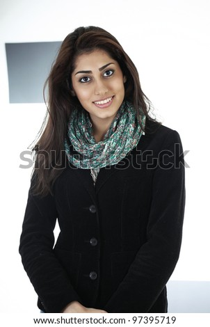 Polite hotel or airline or service industry worker - stock photo