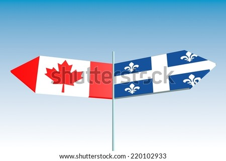politic conflict between canada and quebec. national flags on road arrow sign - stock photo