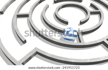 politic problem between greece and europe union relative background. national flag textured sphere in maze - stock photo
