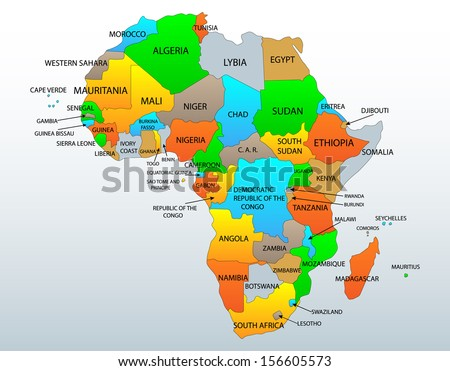 Political and location map of African continent countries, illustration - stock photo